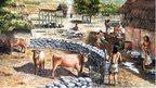 Artwork of Neolithic village