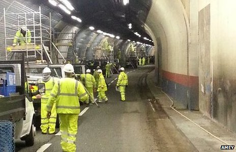 Work being carried out on the tunnels