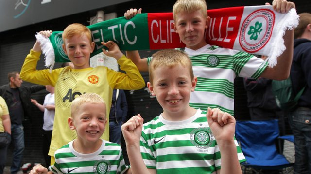Young fans in the queue for Cliftonville against Celtic tickets