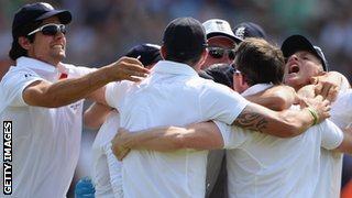 England celebrate winning the first Test