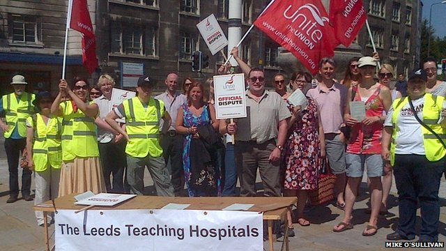 People striking in front of Leeds General Infirmary