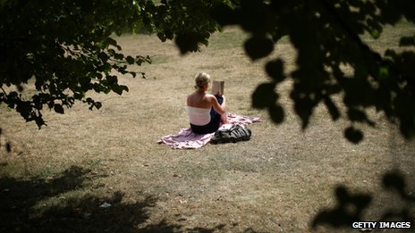 A woman reading in the sun, St James' Park, London