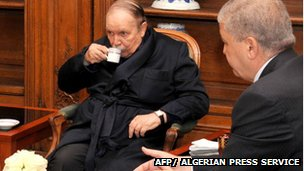 President Bouteflika drinks a coffee in hospital