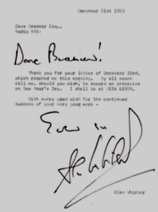 Letter from Alan Whicker to Dave Brammer