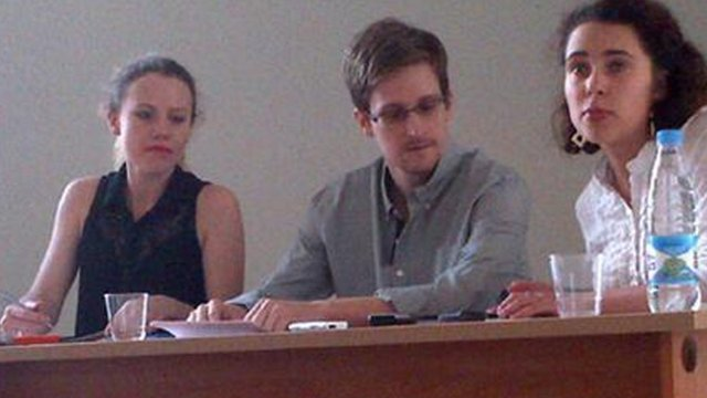 Edward Snowden at a meeting with Russian activists