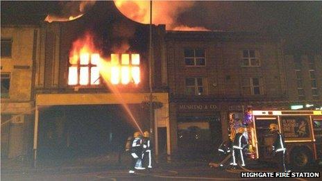 Fire at disused cinema on Bristol Street, Birmingham