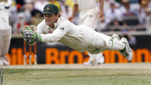 Adam Gilchrist takes a Test catch for Australia