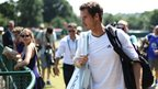 Andy Murray arrives for a practice session