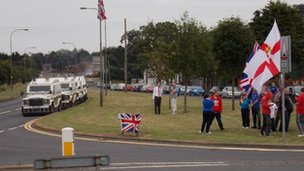 Loyalist protesters on the Corcrain Road in Portadown on Tuesday evening