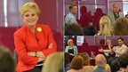 Rip Off Britain presenter Angela Rippon hosted a current affairs session, while business reporter Steph McGovern interviewed new Dragons' Den judge Piers Linney. Nearly 300 saw Richard Bacon interview Nev from BBC Three's The Call Centre on staff engagement.
