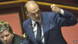 Interior Minister Angelino Alfano in parliament, 16 Jul 13