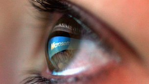 Microsoft logo reflected in user's eye