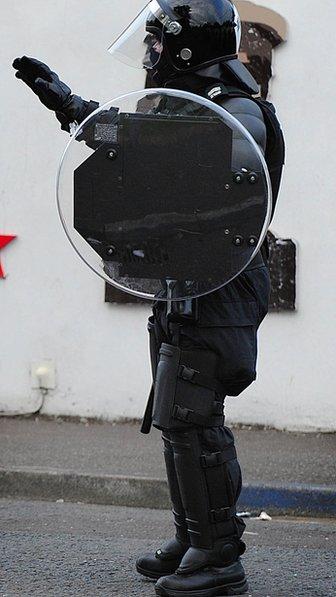 PSNI officer in riot gear