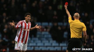 Ryan Shotton of Stoke is sent off by referee Roger East during the Barclays Premier League match between Aston Villa and Stoke City