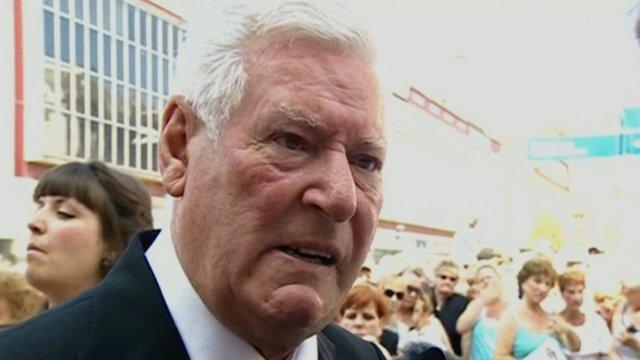 Roy Walker at Bernie Nolan's funeral