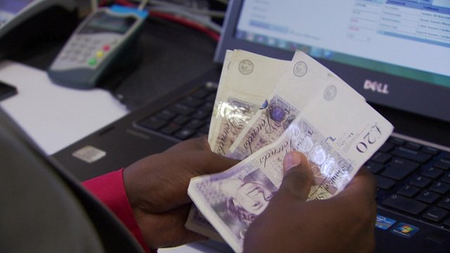 Bank notes being counted