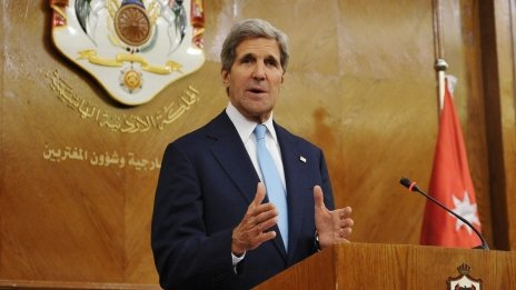 John Kerry at news conference in Amman, Jordan