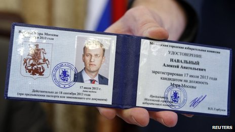 the candidate registration certificate of anti-corruption blogger Alexei Navalny