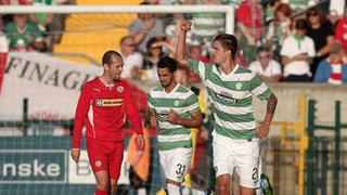 Mikael Lustig opened the scoring for Celtic at Solitude