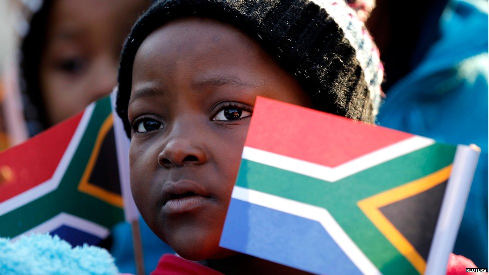 Children outside clinic in Pretoria where Nelson Mandela is being treated, Pretoria (18 July)