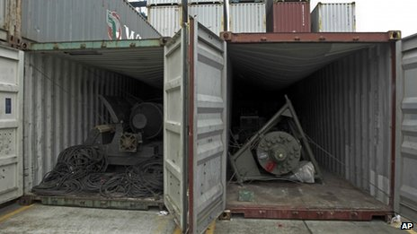 Military equipment in two containers aboard the North Korean-flagged freighter Chong Chon Gang