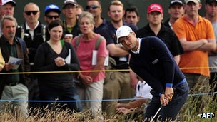 German Martin Kaymer playing at Muirfield on the opening day of the Open