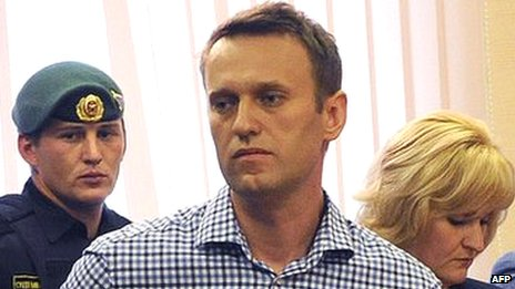 Alexei Navalny at trial in Kirov, 18 July 2013