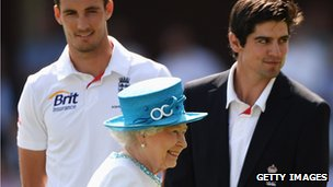 Her Majesty the Queen and Alastair Cook and Steven Finn