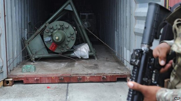 Cargo seized from North Korean ship, under armed guard at Panamanian port of Colon City (17 July)