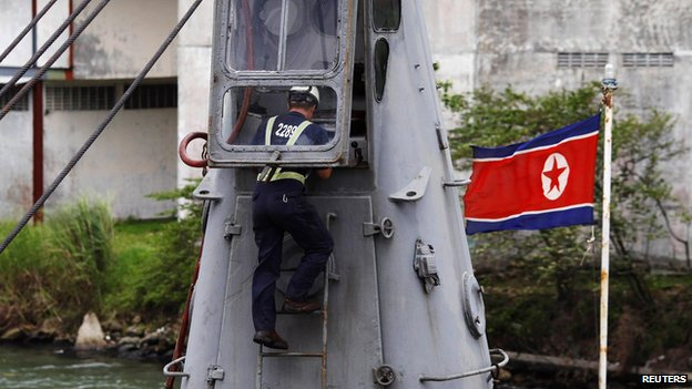 Inspector on North Korean ship, Colon City (17 July)