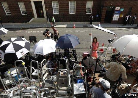 Massed ranks of the media outside the hospital