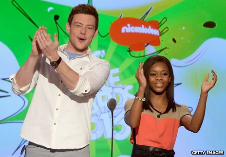 Cory Monteith with gymnast Gabby Douglas on kids' tv
