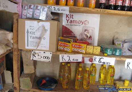 Kit Yamoyo on a shop shelf