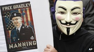 A G8 protester shows support for Bradley Manning, in a rally in Belfast, Northern Ireland