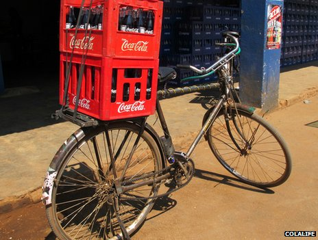 Bike delivering soft drinks