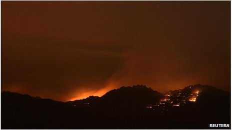 Mountain Fire at night near Palm Springs, California 16 July 2013