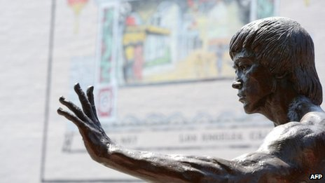 A statute of the late martial arts icon Bruce Lee is seen in Chinatown in downtown Los Angeles, 16 June 2013