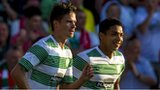 Celtic players Mikael Lustig and Emilio Izaguirre