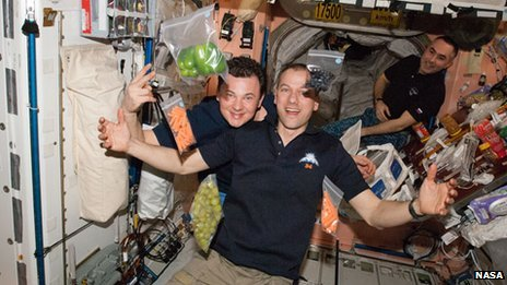 Arrival of fresh food and supplies delivered on the International Space Station.
