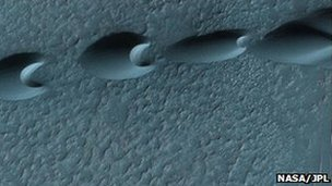 Barchan dunes in the Noachis crater, Mars