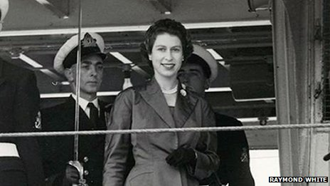 Queen Elizabeth II and officers