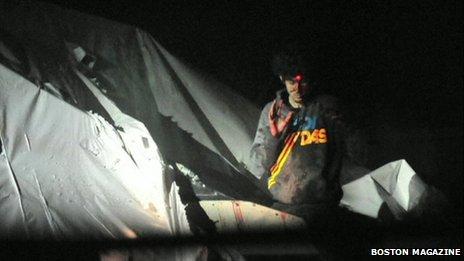 Leaked image of Boston Marathon explosion suspect Dzhokhar Tsarnaev during his capture