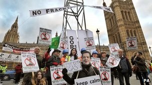 A group of anti-fracking campaigners outside Parliament