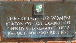 College of Women plaque