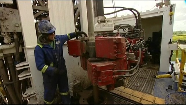 A worker with shale gas machinery