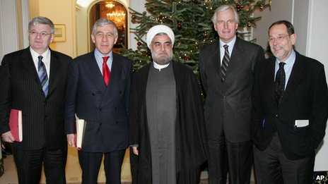 Jack Straw (2nd left) and Hassan Rouhani (centre) in December 2004