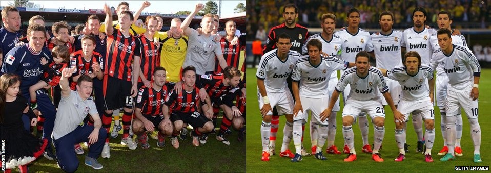 Bournemouth and Real Madrid players