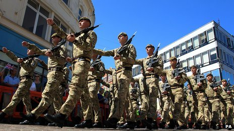 Soldiers from the Princess of Wales's Royal Regiment march through Folkestone, Kent