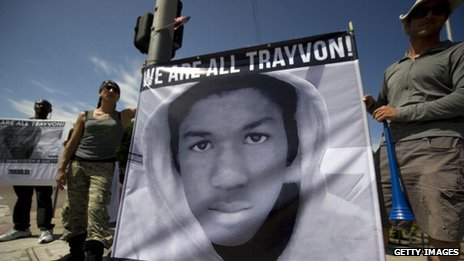 Americans angry at the acquittal of George Zimmerman over the killing of Trayvon Martin protest in Los Angeles, California, 14 July 2013