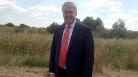 Carwyn Jones at the former Firestone site on Wrexham Industrial Estate